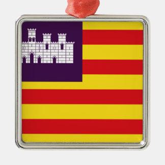 Bandera Islas Balearen - die Flaggen-Balearischen Silbernes Ornament
