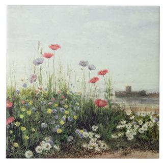 Bank der Sommer-Blumen Keramikfliese