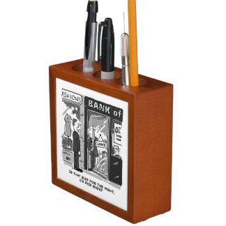 Bank und Bankwesen-Thema-Schreibtisch sauber Stifthalter