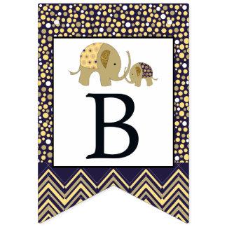 Bannière À Fanions Baby shower de Bohème d'éléphant et de Chevron