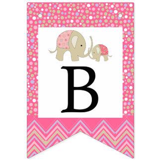 Bannière À Fanions Baby shower de Bohème rose d'éléphant et de