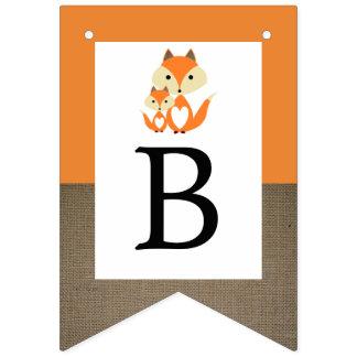 Bannière À Fanions Baby shower orange de toile de jute de Fox