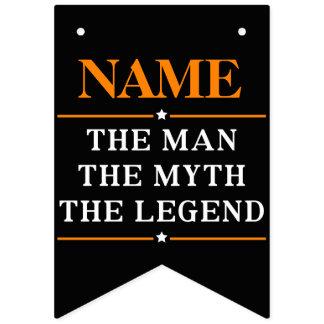 Bannière À Fanions Nom personnalisé l'homme le mythe la légende