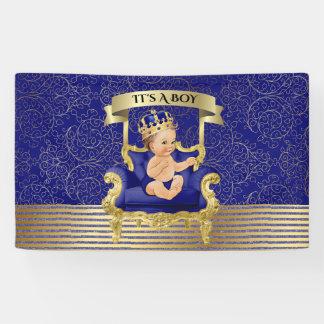 Bannière de baby shower de garçon de bleu et d'or