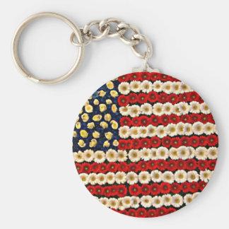 Bannière de flower power USA Porte-clé