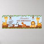 Bannière mignonne de fête d'anniversaire d'animaux posters