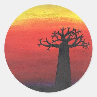 Baobab-Silhouette Runder Aufkleber