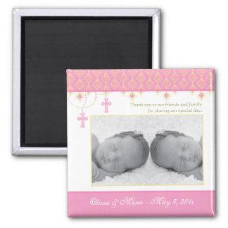 Baptême de fille/faveur jumeaux de baptême - aiman magnets