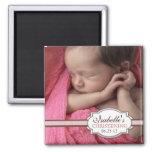 Baptême doux Brown de bébé et photo rose Magnets Pour Réfrigérateur