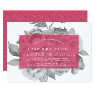 Baptême floral vintage ou invitation de baptême