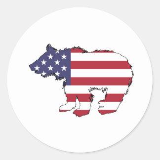 """Bär """"amerikanische Flagge """" Runder Aufkleber"""