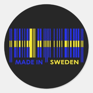 Bar-Code-Flaggen-Farbe-SCHWEDEN-Entwurf Runder Aufkleber
