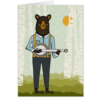 Bär, der Banjo spielt Karte