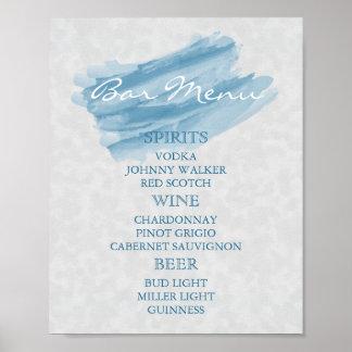 Bar-Menü für eine Hochzeit - moderner blauer Poster