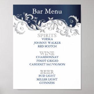 Bar-Menü - Marine-Blau-und weißesblumen Poster