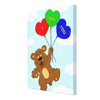 Bär mit Ballonen in den Liebe-Cartoonkindern Leinwanddruck