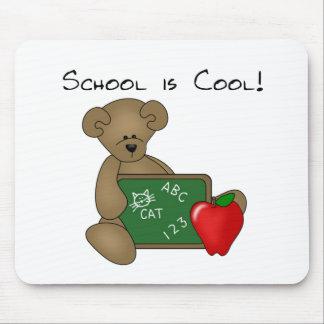 Bär mit Schreibens-Brett-Schule ist cool Mousepad