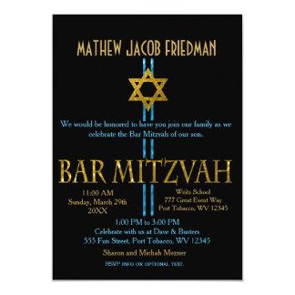 Bar Mitzvah | Davidsstern | Schwarzes 12,7 X 17,8 Cm Einladungskarte