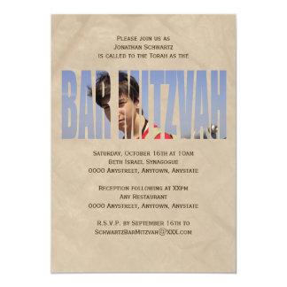 Bar Mitzvah Foto-Einladung in TAN krümmte sich 12,7 X 17,8 Cm Einladungskarte
