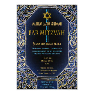 Bar Mitzvah Gold und Blau 12,7 X 17,8 Cm Einladungskarte