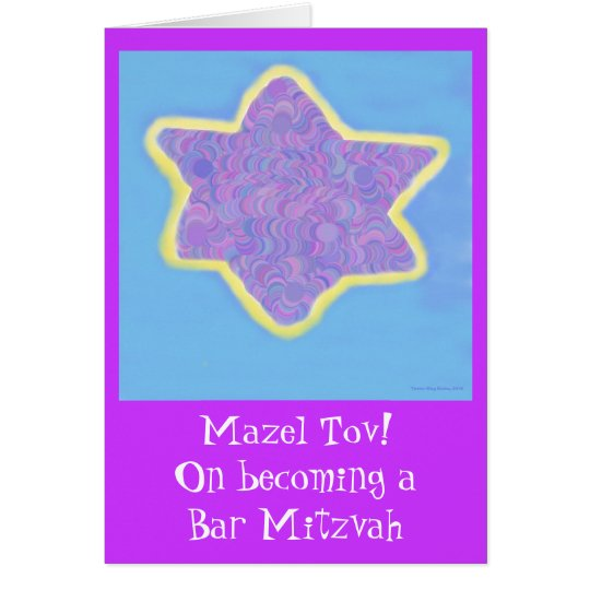Bar Mitzvah lila jüdischer Davidsstern Grußkarte
