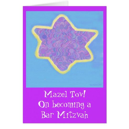 Bar Mitzvah lila jüdischer Davidsstern Karte