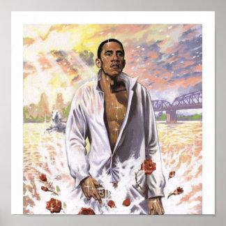 Barack Obama auf Wasser-patriotischem Druck Poster