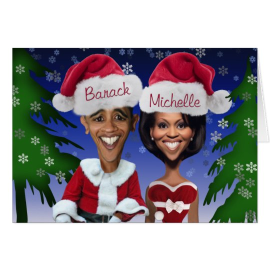 Barack und Karikatur-Feiertag Michelle Obama Karte