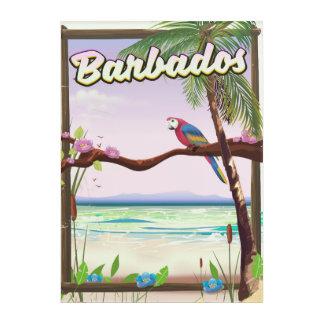 Barbados-Papageien-Landschaftsreiseplakat Acryl Wandkunst