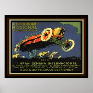 Barcelona-Auto-Rennen-1923 Anzeige 12 x 16 Poster