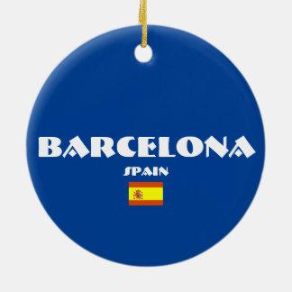 Barcelona-Fußball-ovale Weihnachtsverzierungen Rundes Keramik Ornament