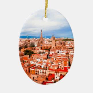 Barcelona Ovales Keramik Ornament
