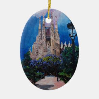 Barcelona Sagrada Familia mit Park und Laterne Ovales Keramik Ornament