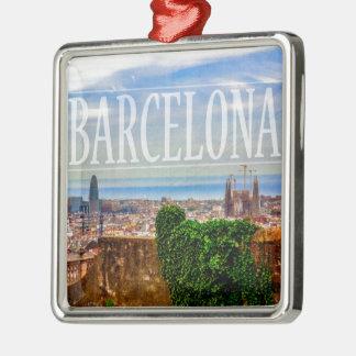 Barcelona-Stadt Quadratisches Silberfarbenes Ornament