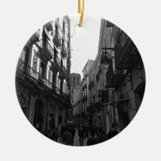 Barcelona-Straße Rundes Keramik Ornament
