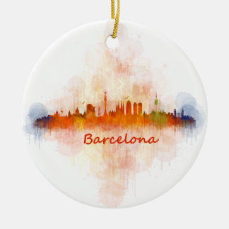 Barcelona watercolor Skyline v04 Keramik Ornament