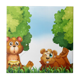 Bären und Wald Keramikfliese