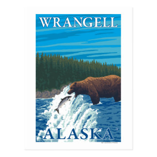 Bärn-Fischen im Fluss- Wrangell, Alaska Postkarte