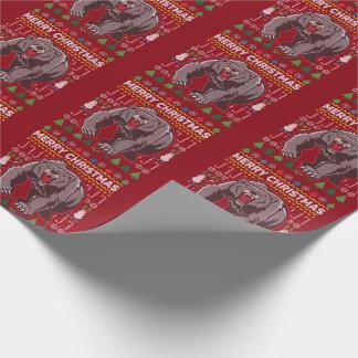 Bärn-hässliche Weihnachtsstrickjacke-Tier-Reihe Geschenkpapier