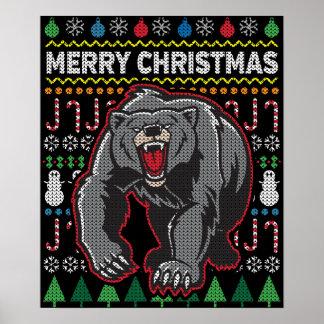 Bärn-hässliche Weihnachtsstrickjacke-Tier-Reihe Poster