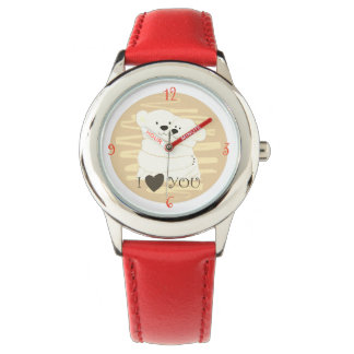 Bärn-Paar-polare niedliche Liebe-Winter-Umarmung Armbanduhr