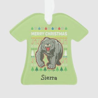 Bärn-Tier-frohe Weihnacht-hässliche Strickjacke Ornament