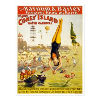 Barnum u. Wasser-Karneval Baileys Coney Island Postkarte