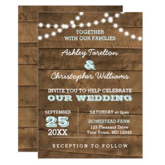 Barnwood beleuchtet Aqua-Hochzeits-Einladung Karte