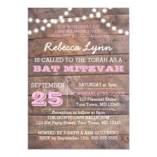 Barnwood beleuchtet rosa Schläger Mitzvah 12,7 X 17,8 Cm Einladungskarte