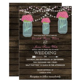 Barnwood, invitations rustiques de mariage de pot