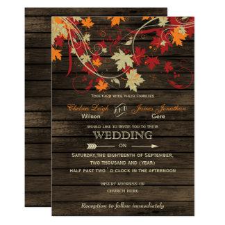 Barnwood, rustikaler Herbstlaub, der Einladungen 12,7 X 17,8 Cm Einladungskarte