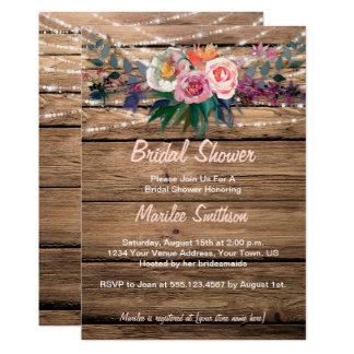 Barnwood Watercolor-Fall-Wildblumen-Brautparty 12,7 X 17,8 Cm Einladungskarte