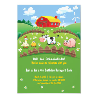 Barnyard-Bauernhof-Kindergeburtstag-Einladungen 12,7 X 17,8 Cm Einladungskarte