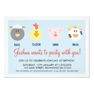 Barnyard-Geburtstags-Einladung Karte